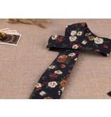 English Fashion Floral Stropdas Navy Blauw