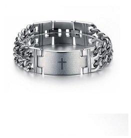 English Fashion Stainless Steel Cross Bracelet