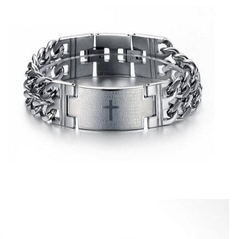 English Fashion Stainless Steel Chain Link Cross Heren Arm Band