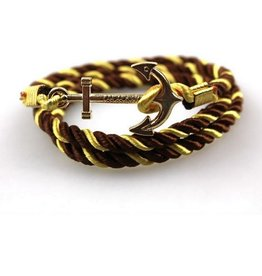English Fashion Satin Anchor Bracelet - Gold Brown