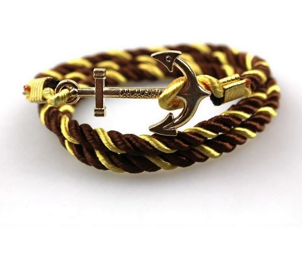English Fashion Soft Satin Anchor Bracelet - Gold Brown