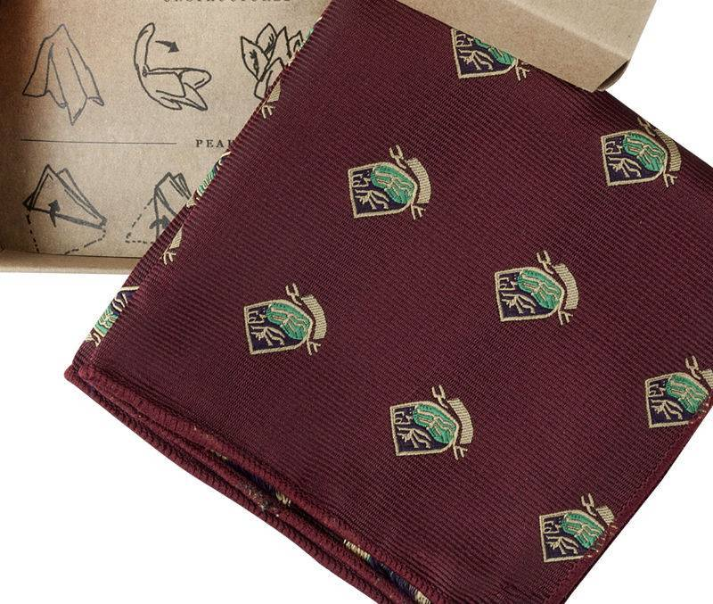 English Fashion Red Satin Pocket Square - Emblem