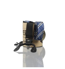English Fashion Silk Suspenders blue checkered