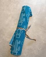 Katoen CANVAS - Petrol cactus - Coupon 50 cm