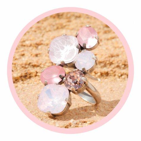 artjany Ring mit Kristallen in rosétönen