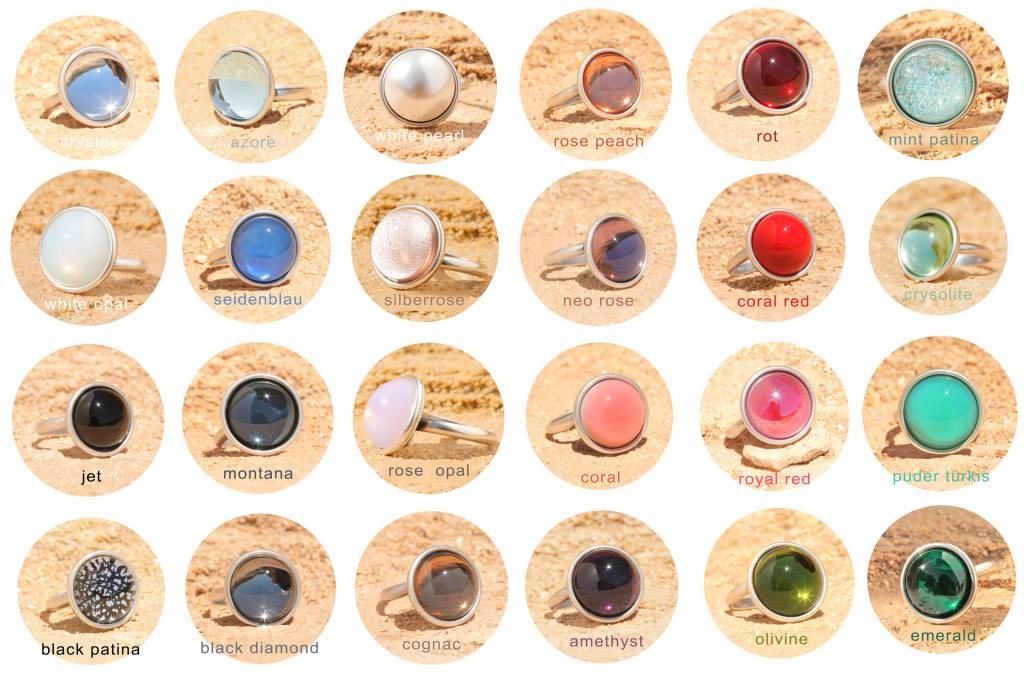 artjany Ring mit einem cabochon & crystal