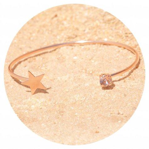 artjany Armreif mit einem Kristall & einem Stern in vintage rose