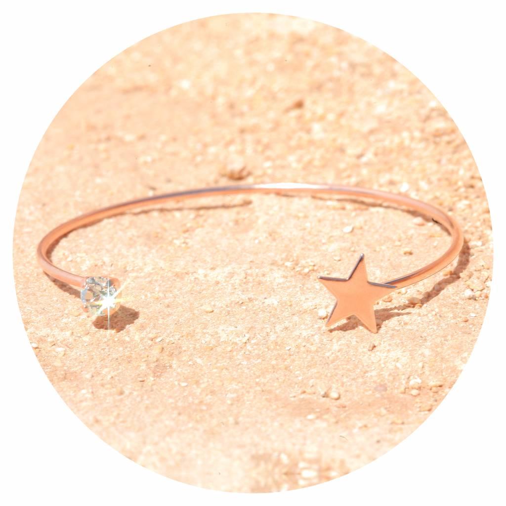 artjany Armreif mit einem Kristall & einem Stern in hellblau