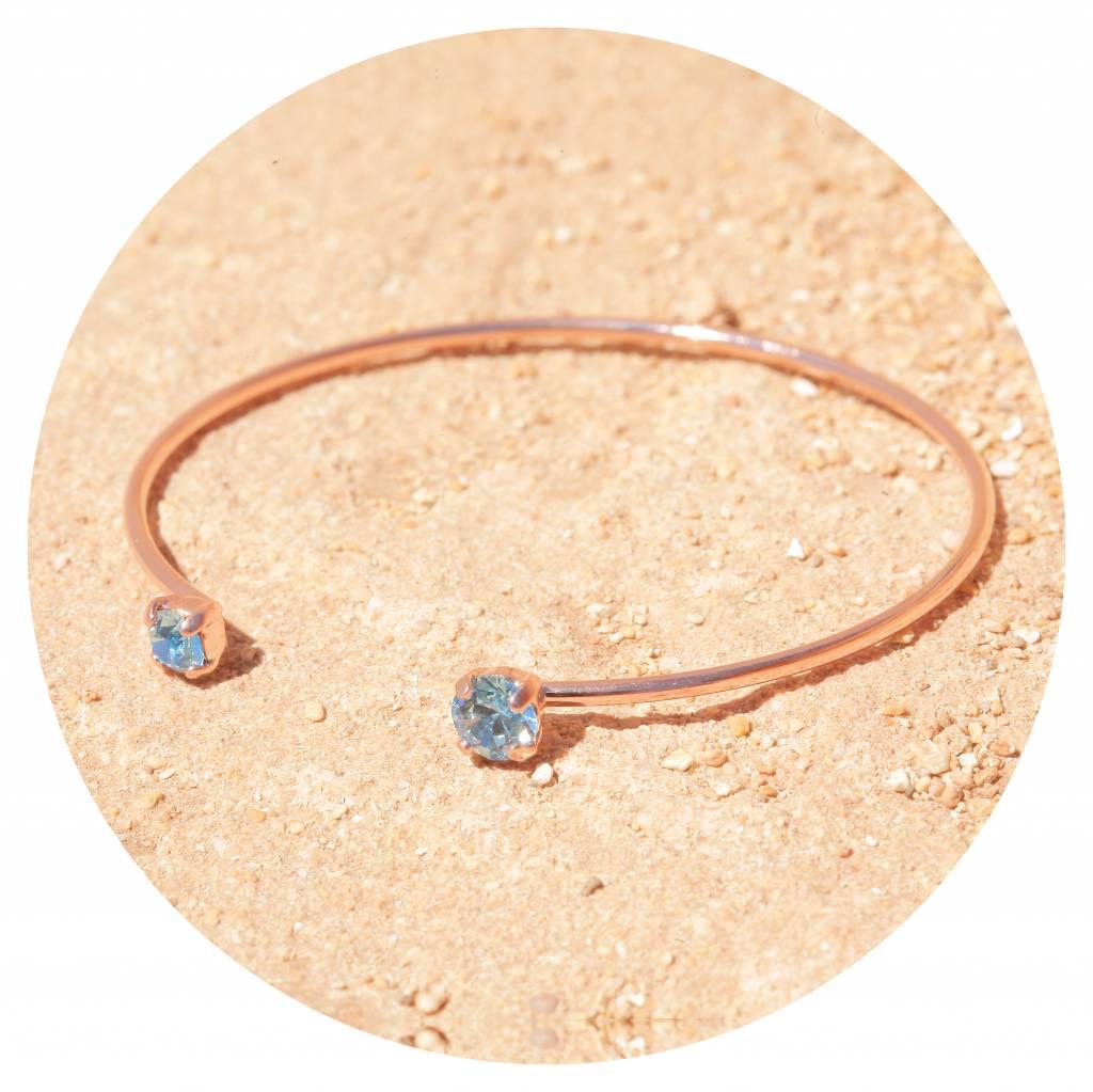 artjany Armreif mit zwei  Kristallen in aquamarine