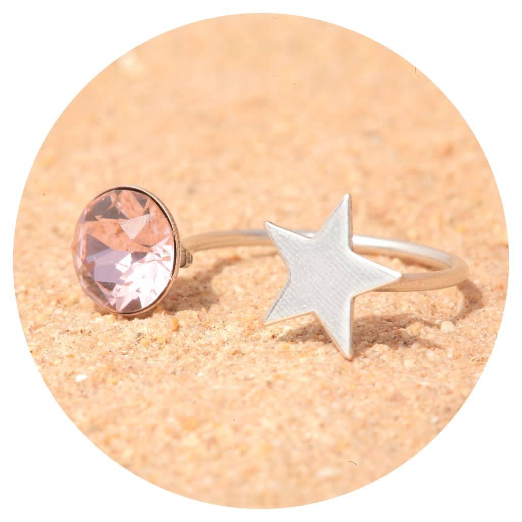 artjany Ring mit einem Kristall in vintage rose