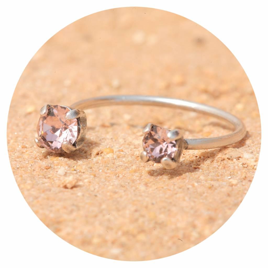 artjany Ring mit zwei Kristalenl in vintage rose