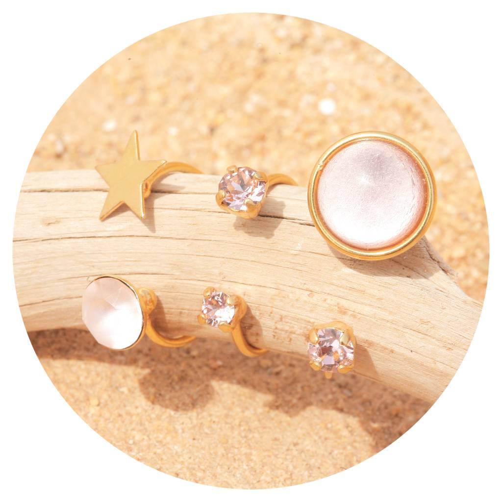 artjany star Ring mit einem Kristall in vintage rose