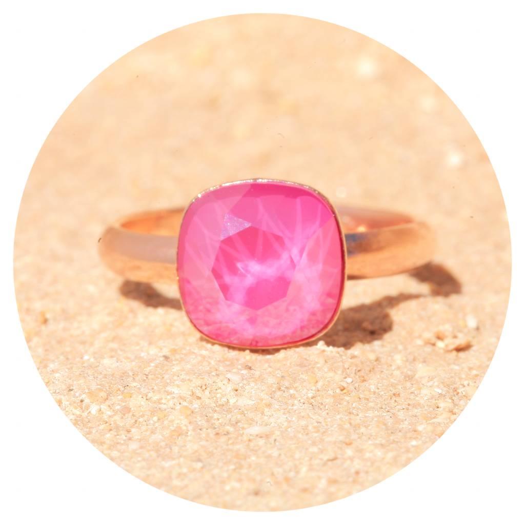 artjany Ring mit einem Kristall inpeony pink