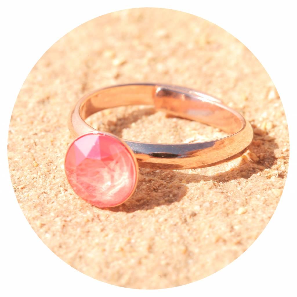 artjany Ring mit einem crystal in light coral
