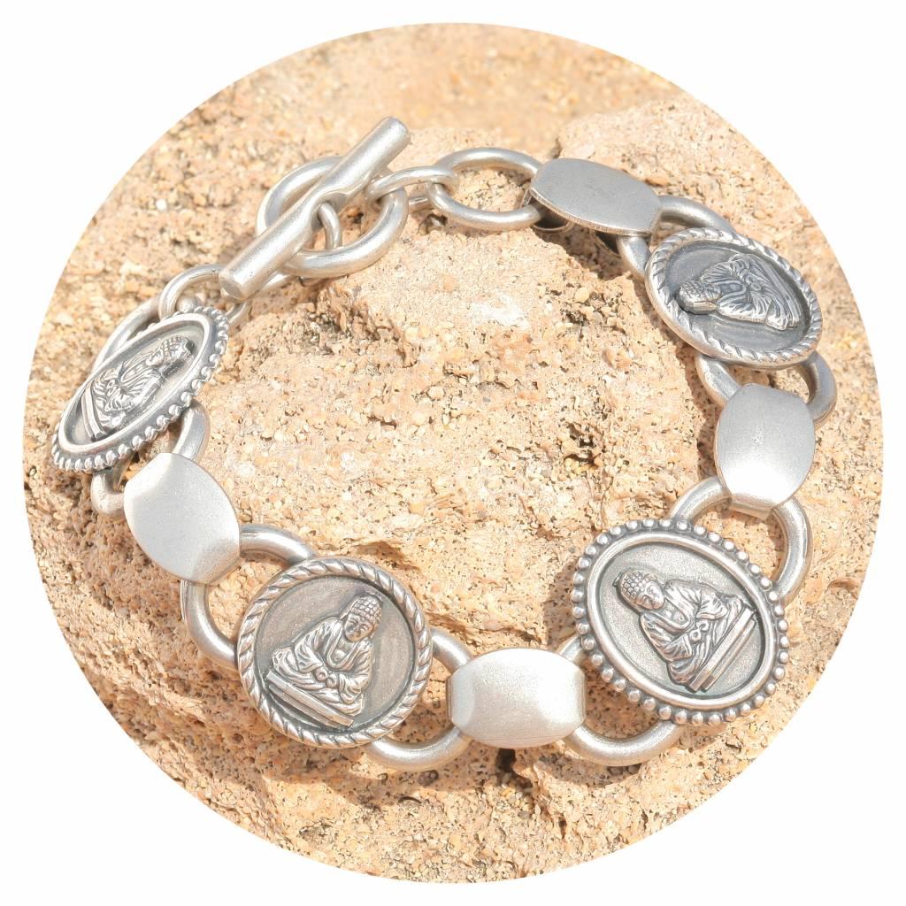 artjany Buddha Armband in silber patina