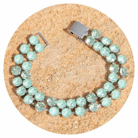 artjany zweireihiges Armband mit Kristallen in mint green mix