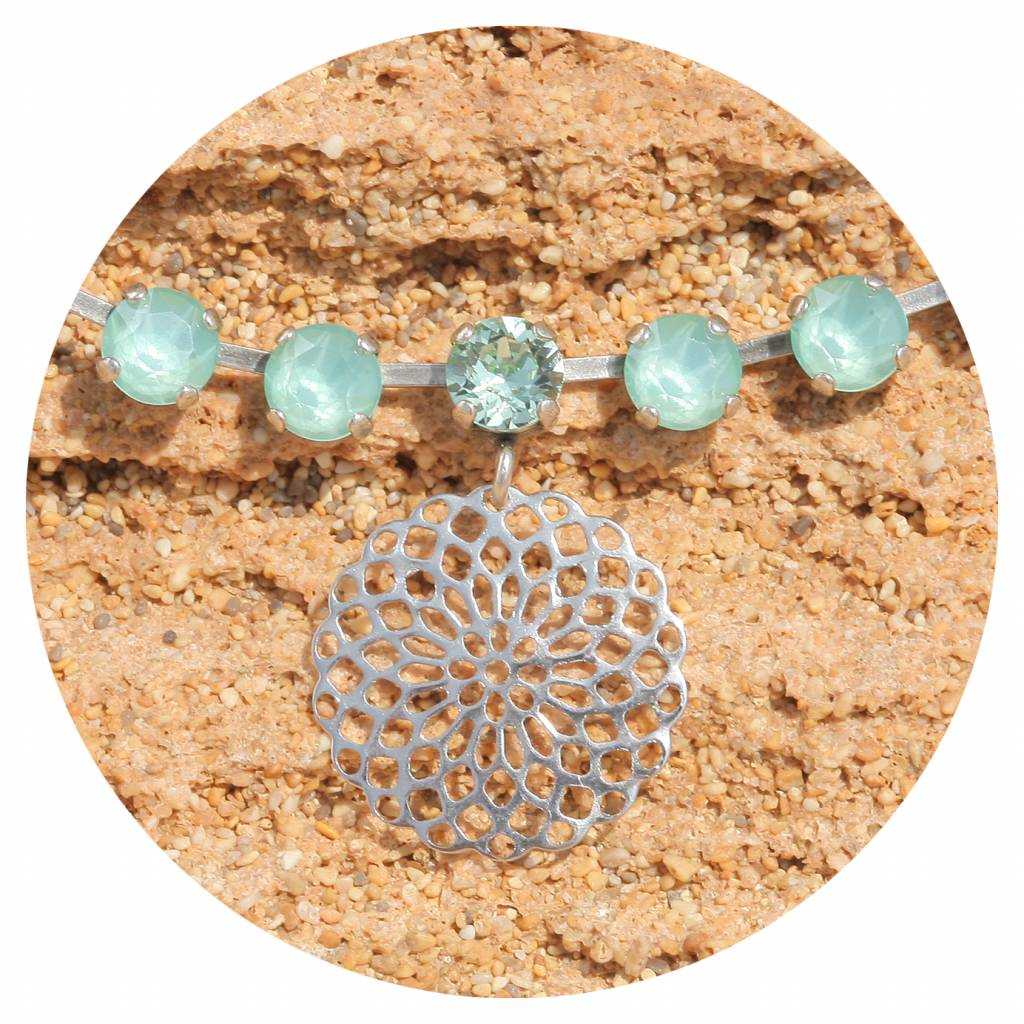 artjany Mandala Collier mit crystals in mint green