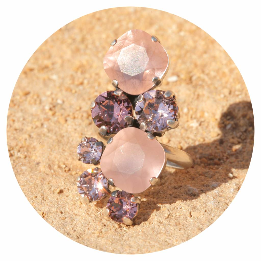 artjany Ring mit Kristallen in vintage rose tönen