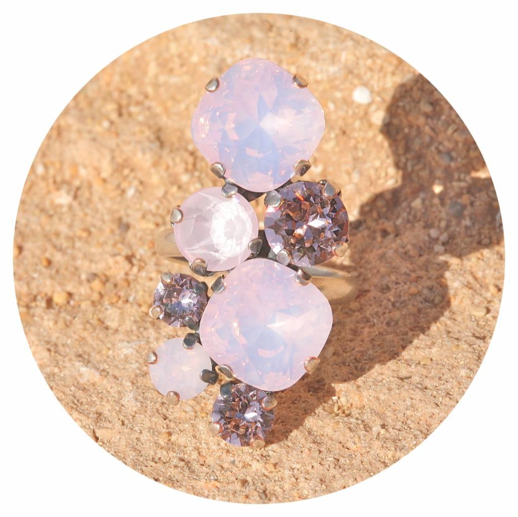 artjany Ring mit Kristallen in rose opal tönen