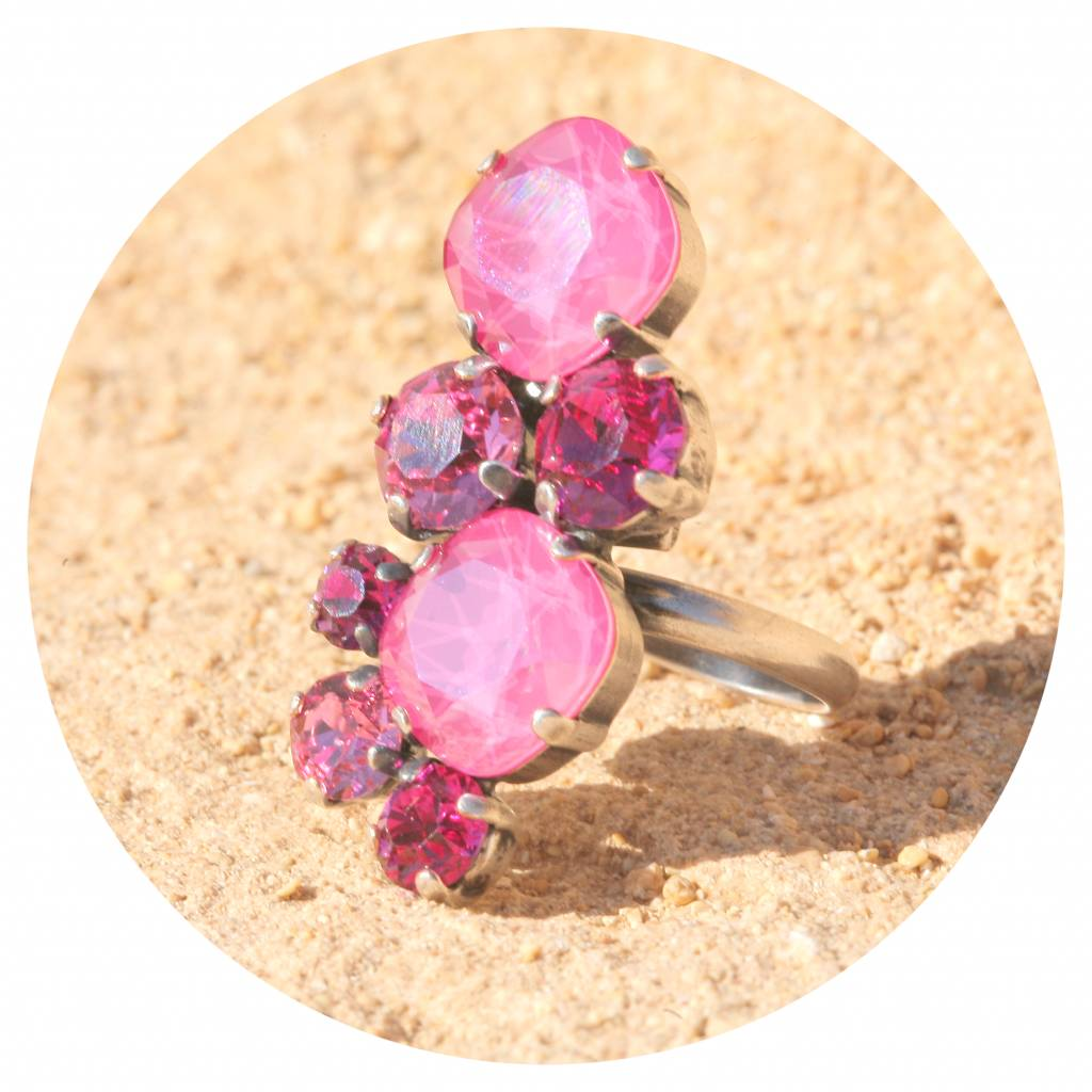 artjany Ring mit Kristallen in peony pink tönen