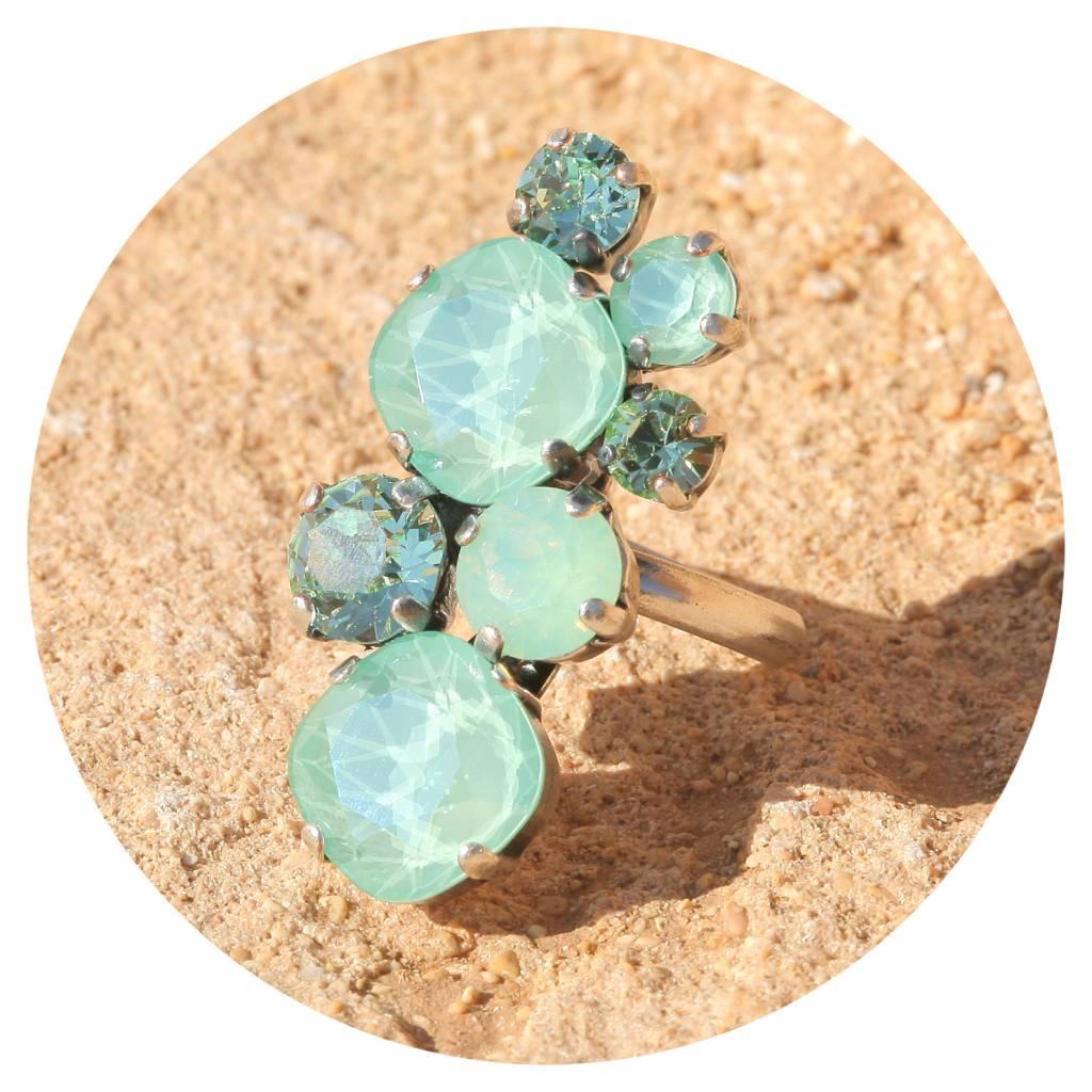 artjany Ring mit Kristallen in mint green tönen