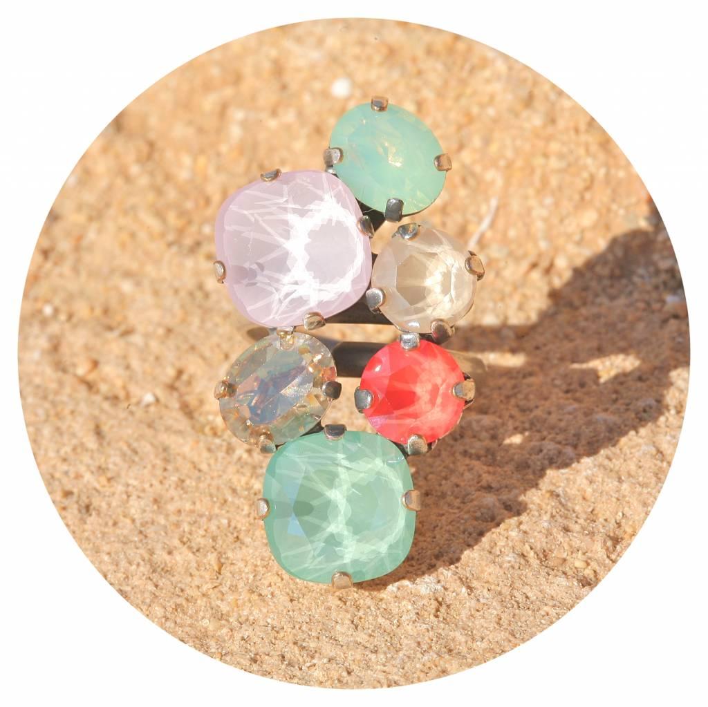 artjany Ring mit Kristallen in coral & mint tönen