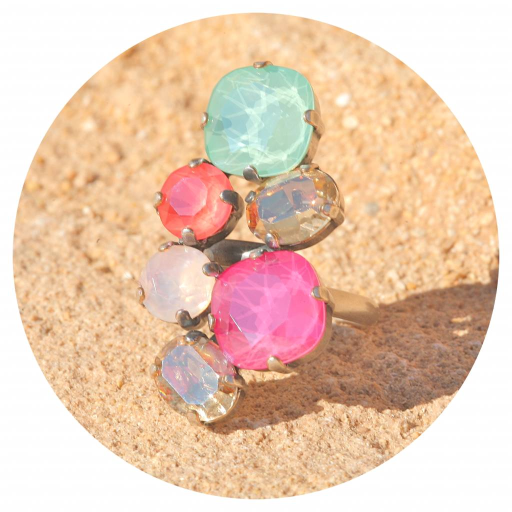 artjany Ring mit Kristallen in pink, coral & mint tönen