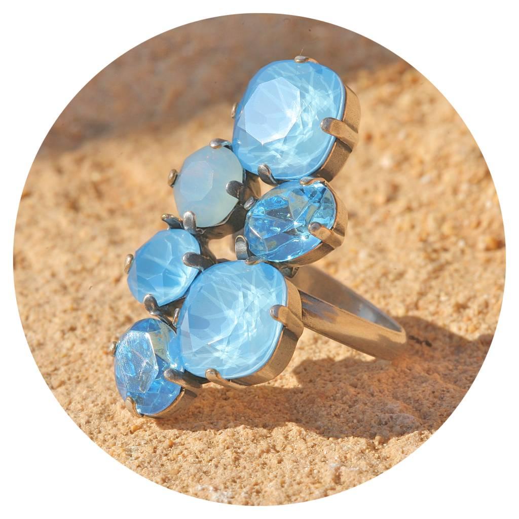 artjany Ring mit Kristallen in summer blue tönen