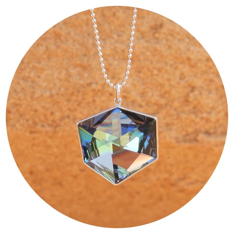 artjany Kette mit einem geschliffenen Kristall in crystal  sahara
