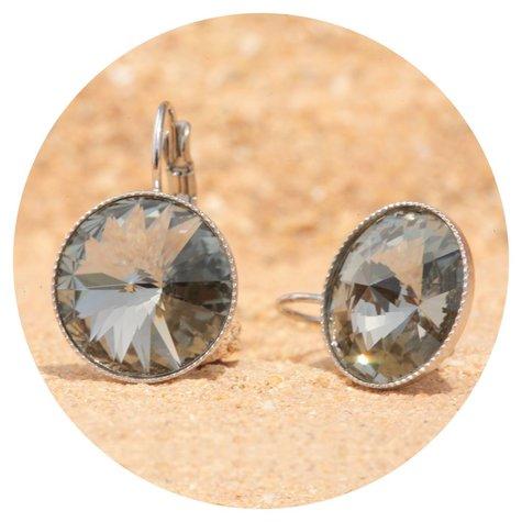 artjany Ohrhänger mit Kristallen in black diamond