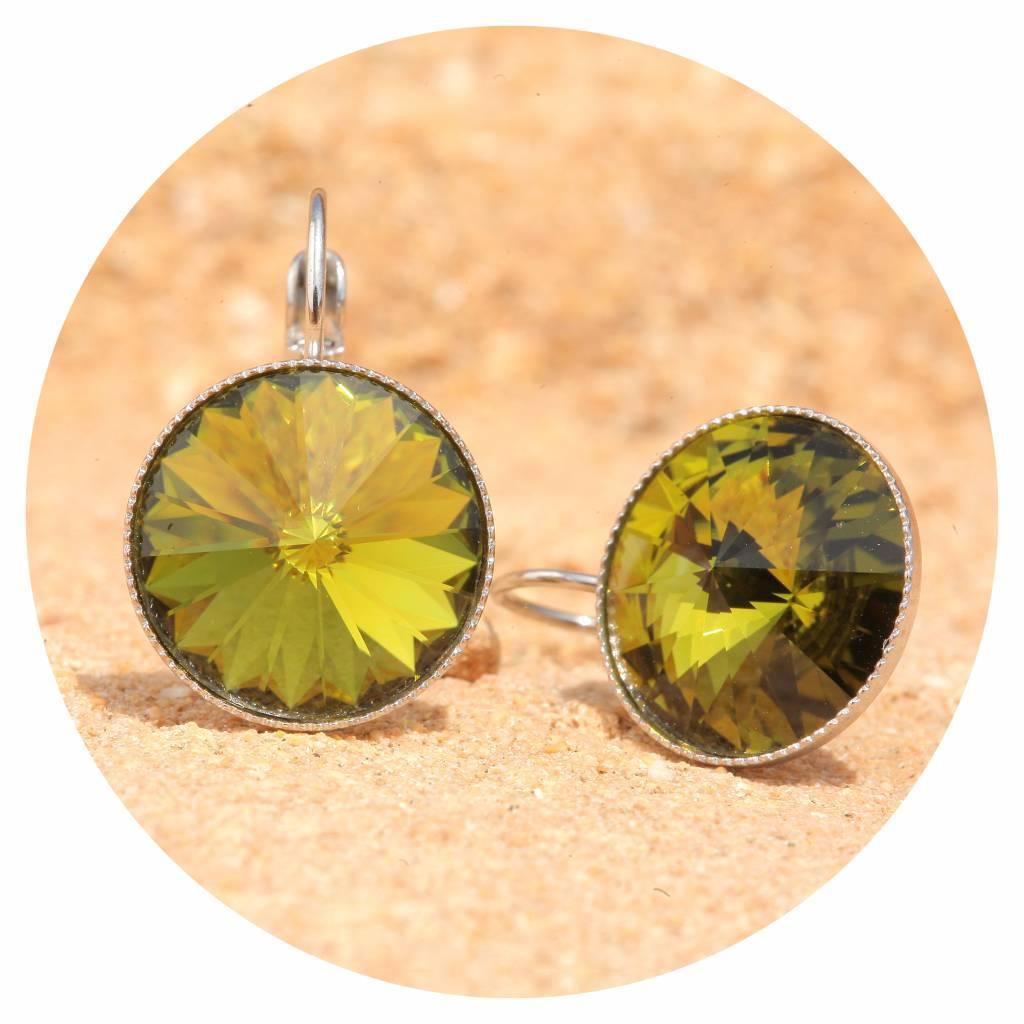 artjany Ohrhänger mit Kristallen in olivine