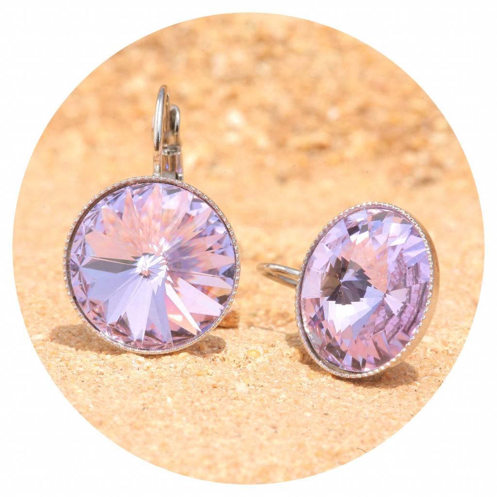 artjany Ohrhänger mit Kristallen in violet