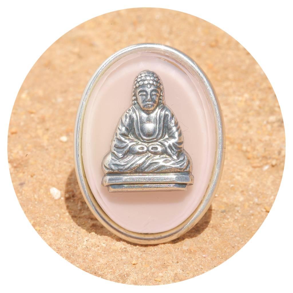 artjany Buddha Ring mit einer Glastafel in puderrose