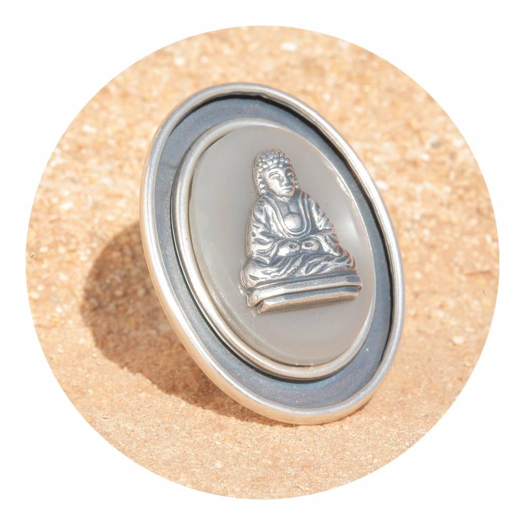 artjany Ring mit einem buddha in grau