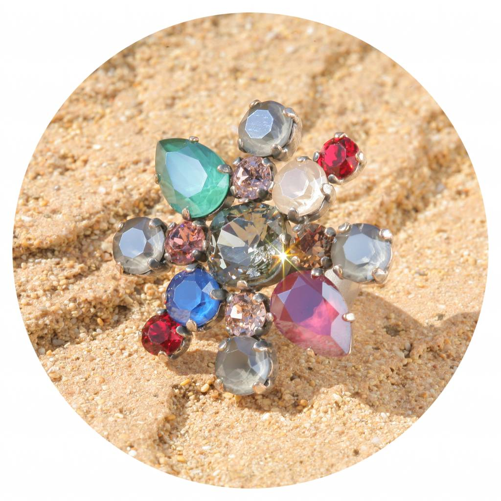 artjany Ring mit crystals in opaque bunt mix