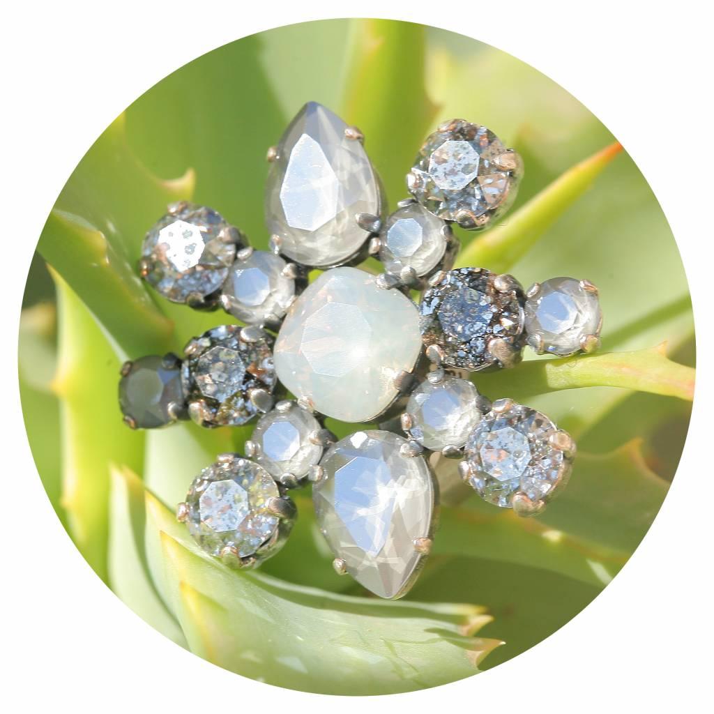 artjany Ring mit crystals in royal grey & patina