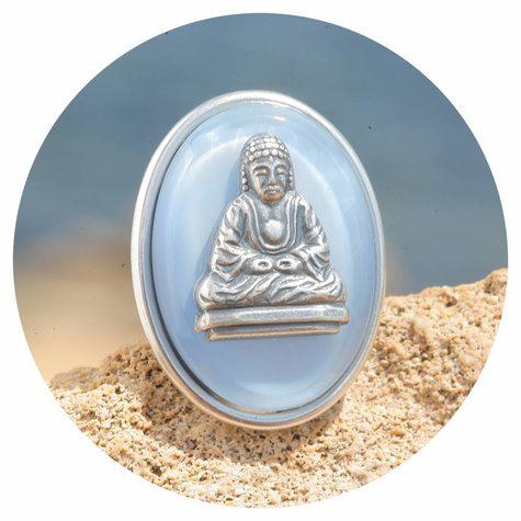 artjany Buddha Ring mit einer Glastafel in seidenblau