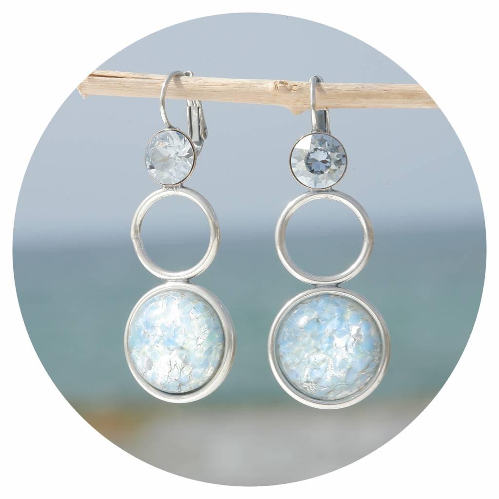 Dauerhafter Service online Shop anerkannte Marken artjany Statement Ohrringe mit einem runden cabochon & swarovski kristallen  in blau patina blue shade