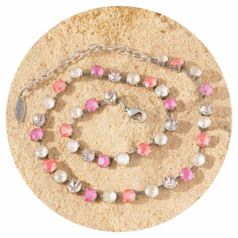 artjany Collier mit crystals in coral pink mix