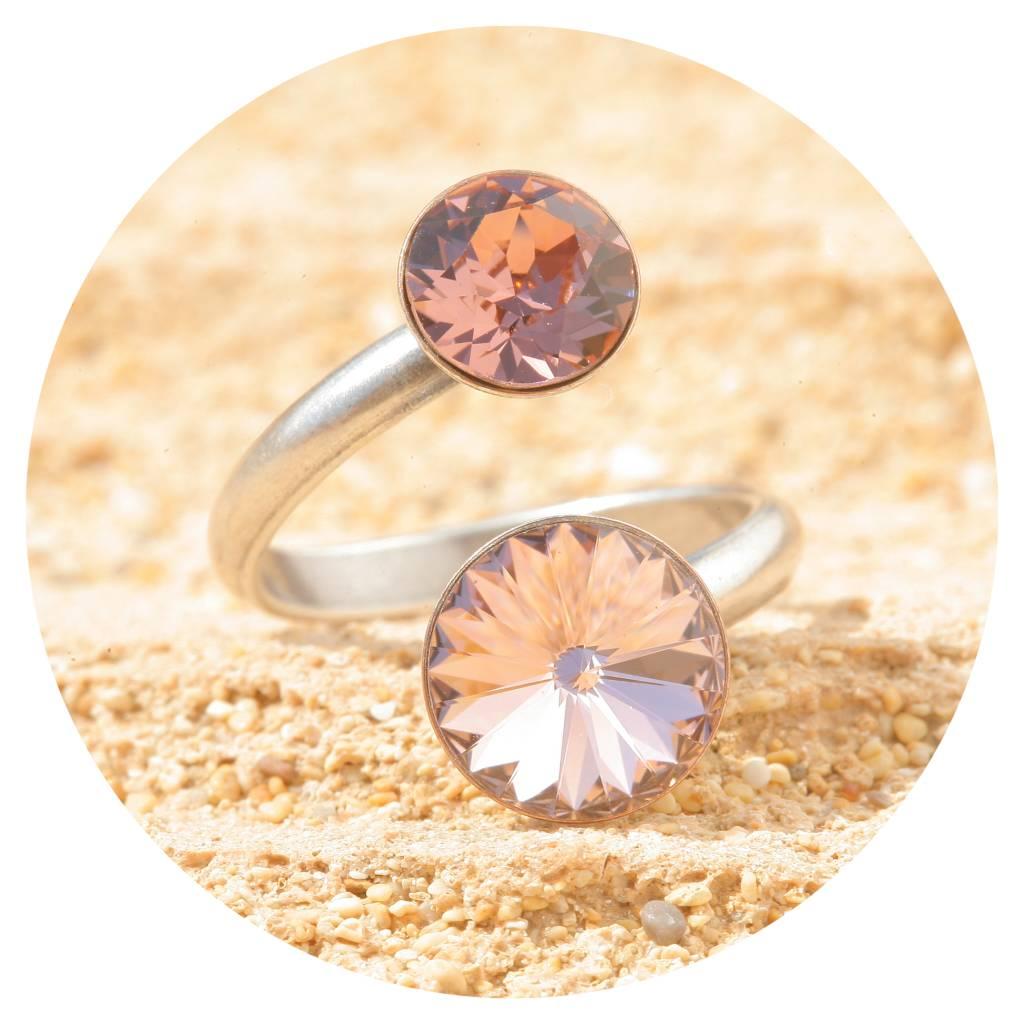 artjany Ring mit crystals in vintage & blush rose