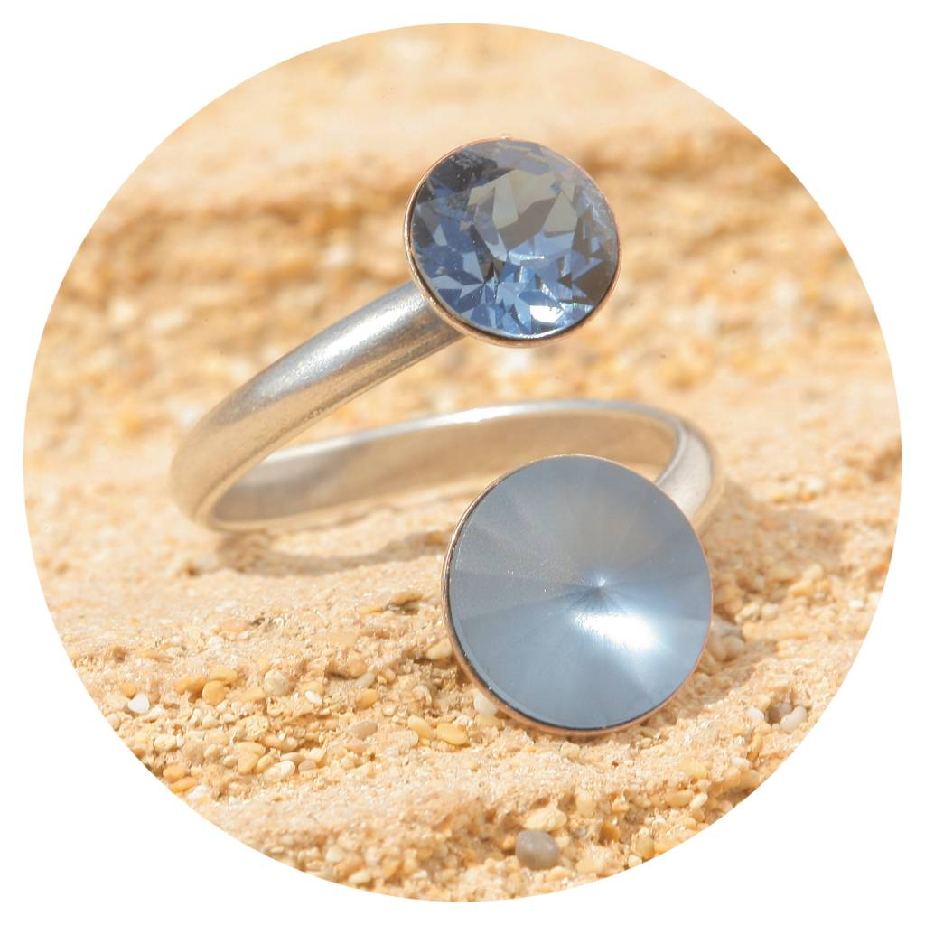 artjany Ring mit crystals in denim blue matt mix