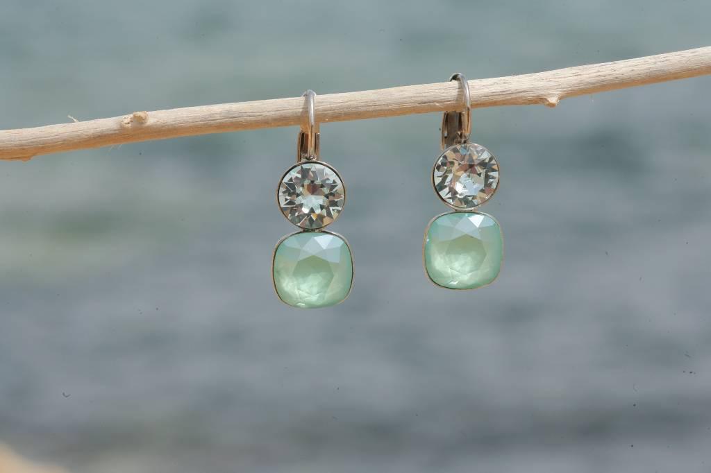 artjany Ohrhänger mit crystals in mint green crysolite