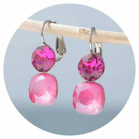artjany Ohrhänger mit crystals in peony pink fuchsia