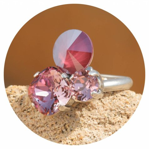 artjany Ring mit crystals in blush red rose mix