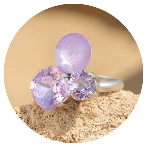 artjany Ring mit crystals in lilac violet mix
