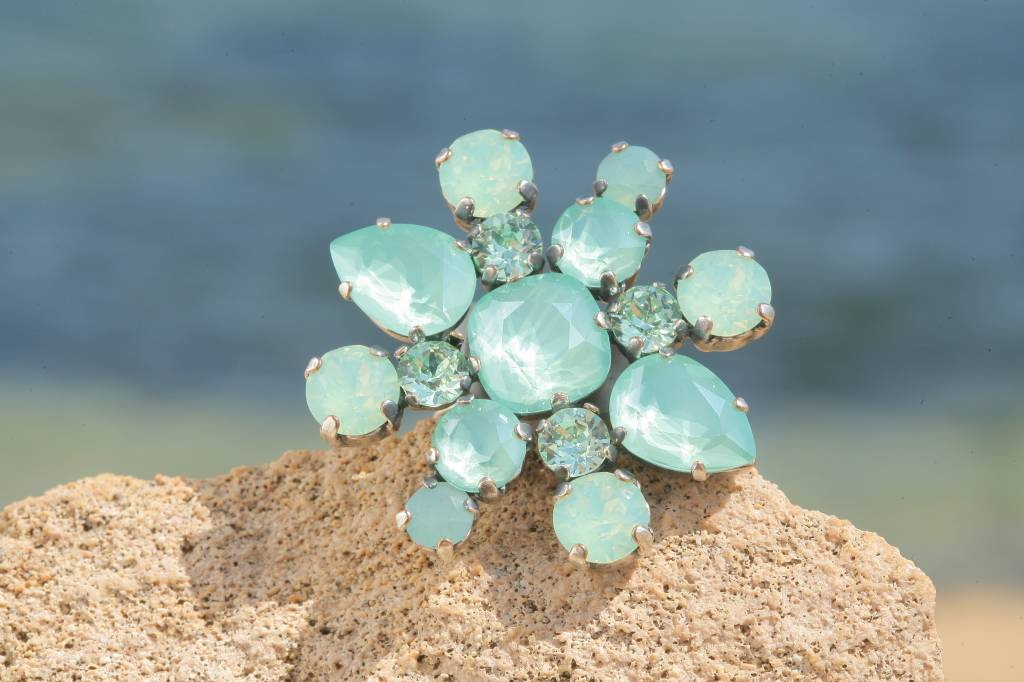 artjany Ring mit crystals in mint green mix