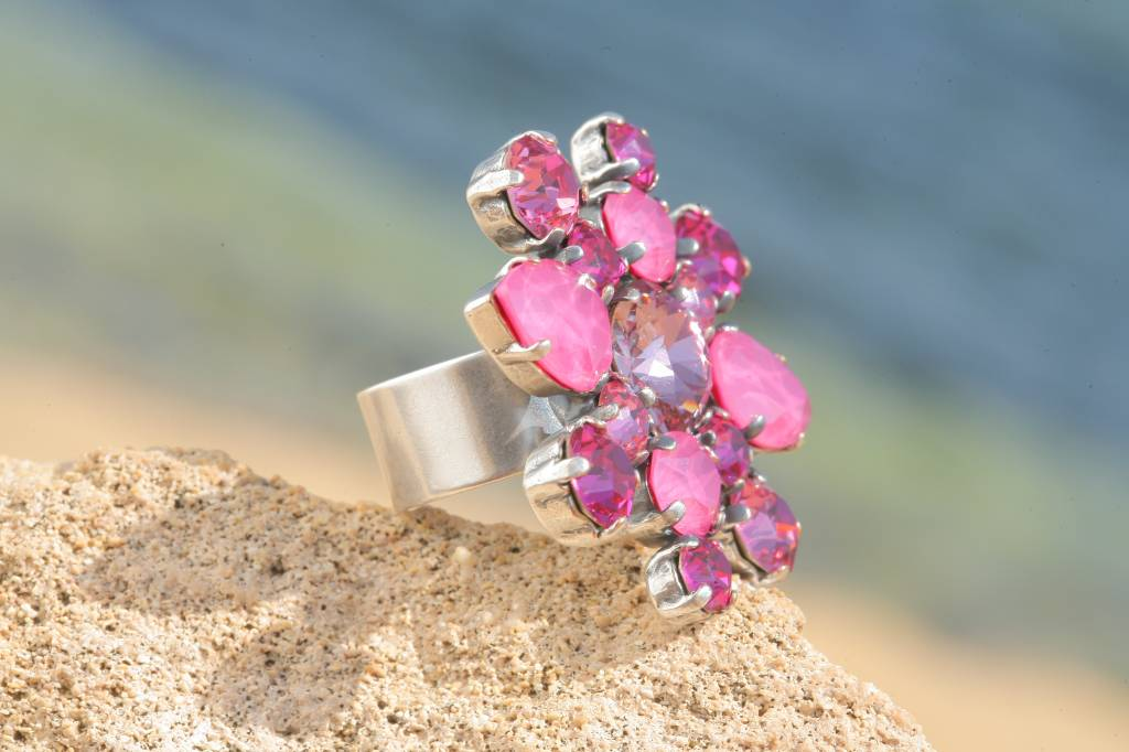 artjany Ring mit crystals in peony pink mix