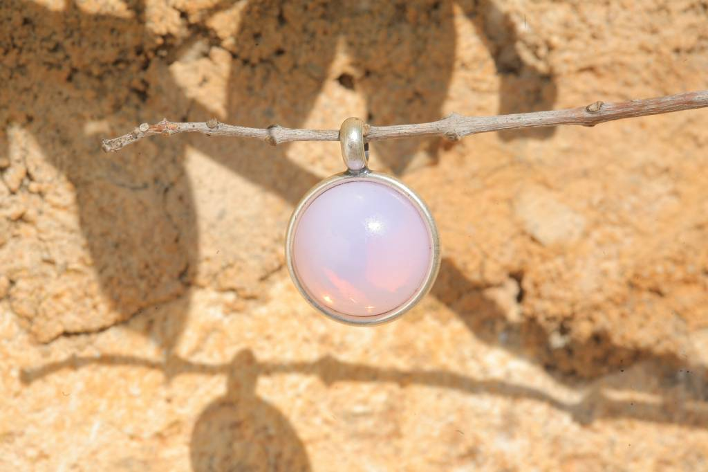 artjany Anhänger mit einem Cabochon in rose opal