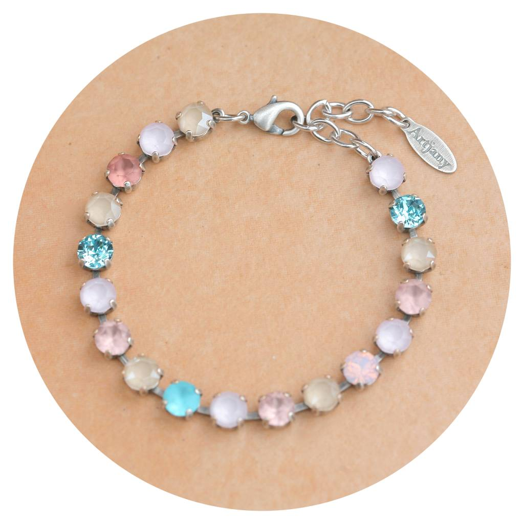 artjany Armband mit Kristallen im blue ivory  rose mix