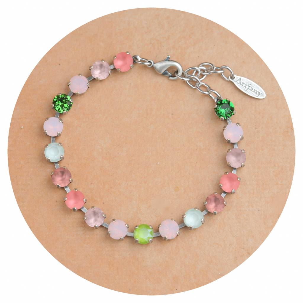 artjany Armband mit Kristallen im green blush rose mix